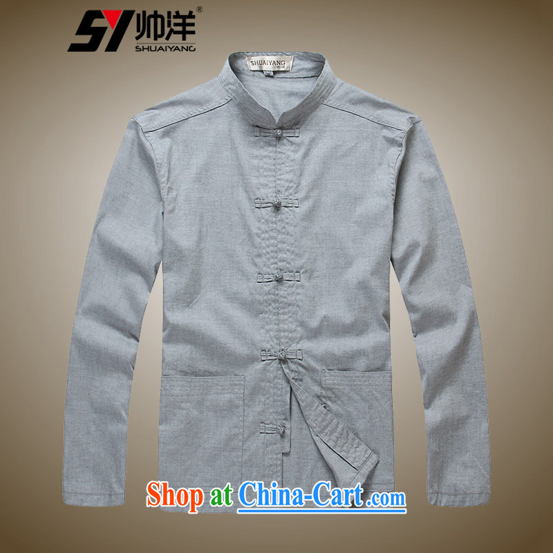 cool ocean 2015 Cotton Men's Chinese long-sleeved T-shirt hand-tie Chinese men's shirts retro China wind cotton ultra-soft and comfortable fabric, the gray 41/175