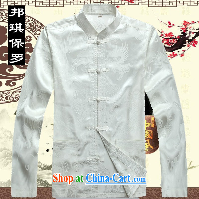 Bong-ki Paul 2014 spring and summer, China wind in older Chinese men's long-sleeved large nylon case with Chinese, for the code's grandfather Kit 2039 white package XXXL