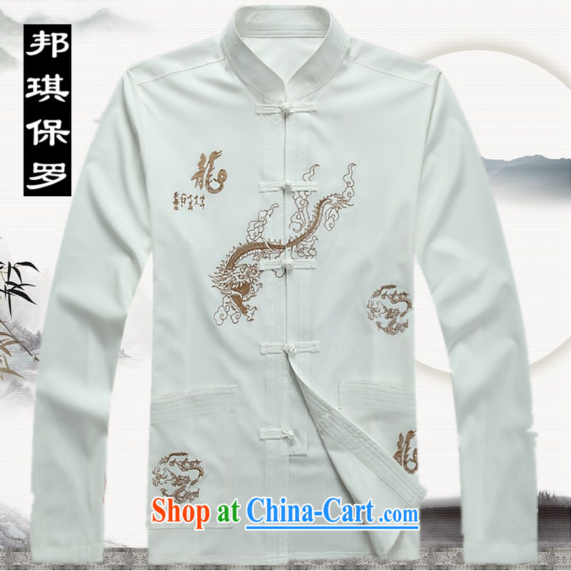 Bong-ki Paul 2014 men's Tang in older men and long-sleeved Kit spring and summer package my grandfather was replacing older persons Tang replace thin ethnic wind Chinese male white package XXXL
