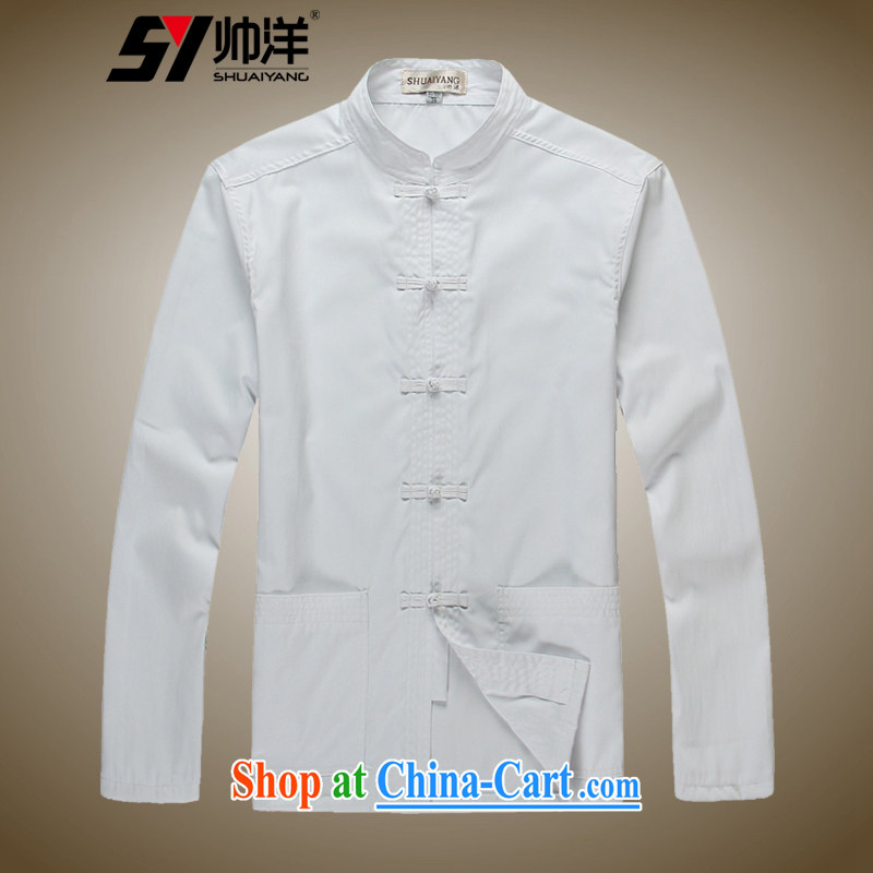 cool ocean 2015 spring men's Chinese shirt solid shirt long-sleeved T-shirt Chinese wind male Chinese shirt classic white white 42_180