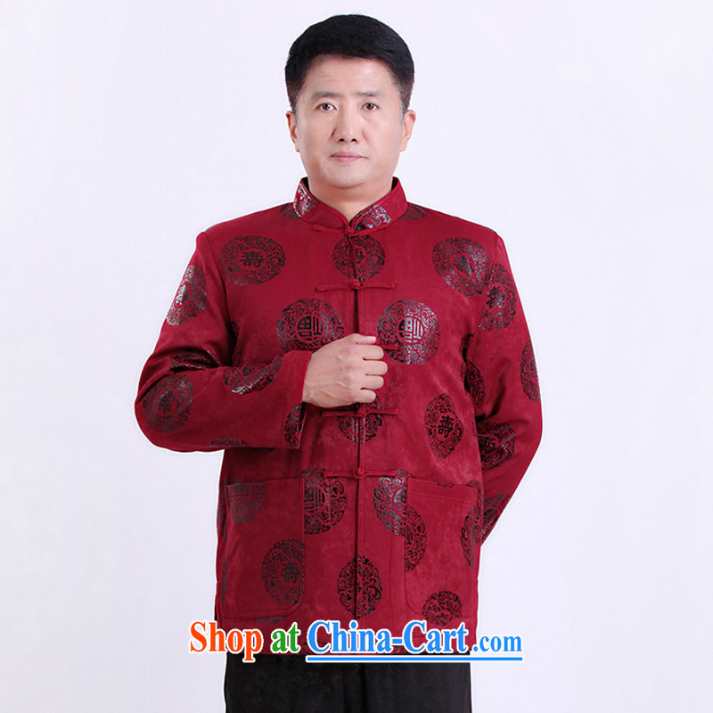 A property in older Chinese men's jacket thick had the code men's China wind male red XXXL