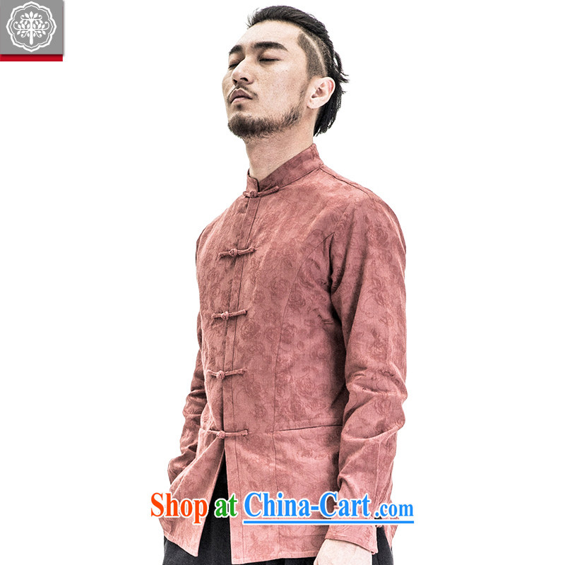 To tree spring 2015 New China wind Chinese men's shirts, for cultivating long-sleeved Chinese shirt men's crimson red giant