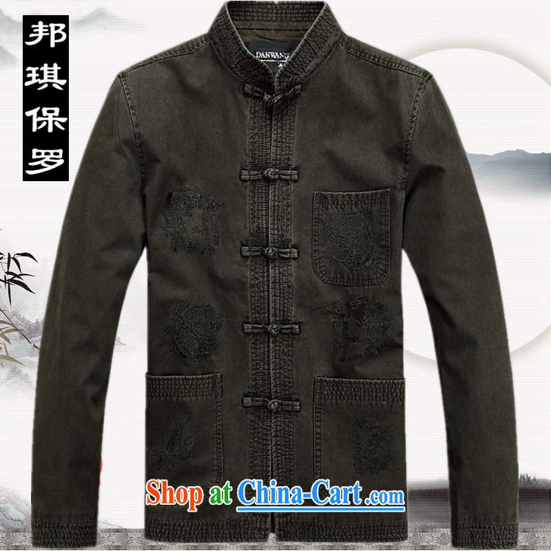 Bong-ki Paul 2014 thick, men's Chinese T-shirt pure cotton, elderly Chinese men and national costumes China wind fall and winter men's jackets, old grandfather with 3 color XXXL