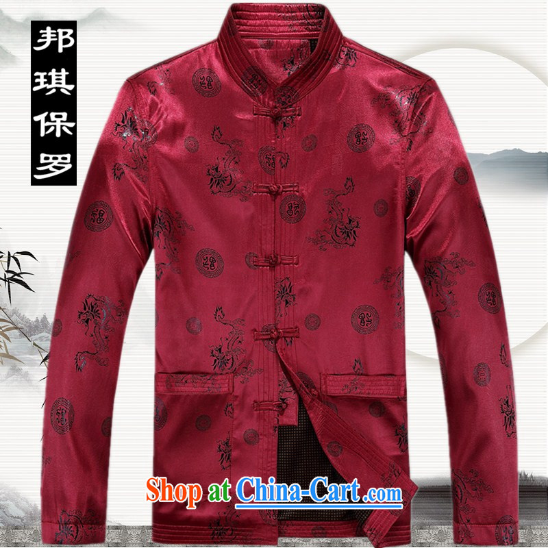 Bong-ki Paul 2014 autumn and winter thick, older Chinese men's jacket older persons Chinese jacket large, Father is the China wind Tang jackets red XXXL