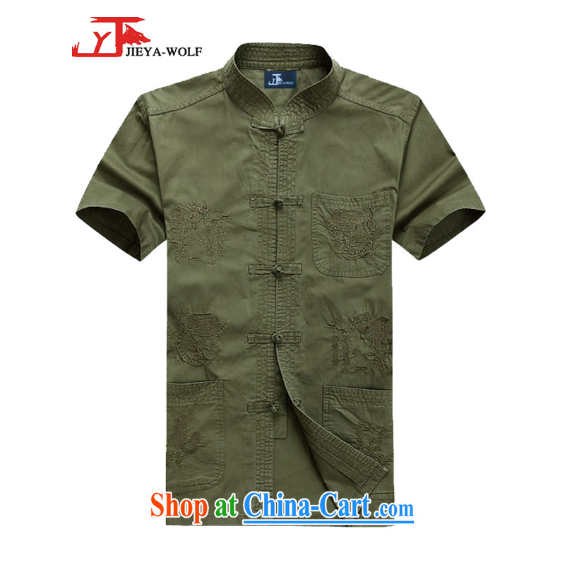 Jack And Jacob - Wolf JEYA - WOLF new Chinese men's short-sleeved Bamboo Charcoal cotton shirt summer thin male Chinese national leisure, green 190/XXXL