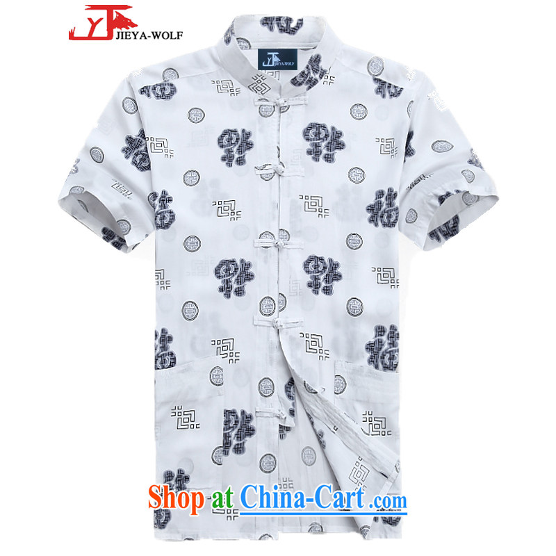 Jack And Jacob - Wolf JEYA - WOLF new Chinese men's short-sleeve cotton T-shirt summer thin men Tang with national leisure, 165 White_S