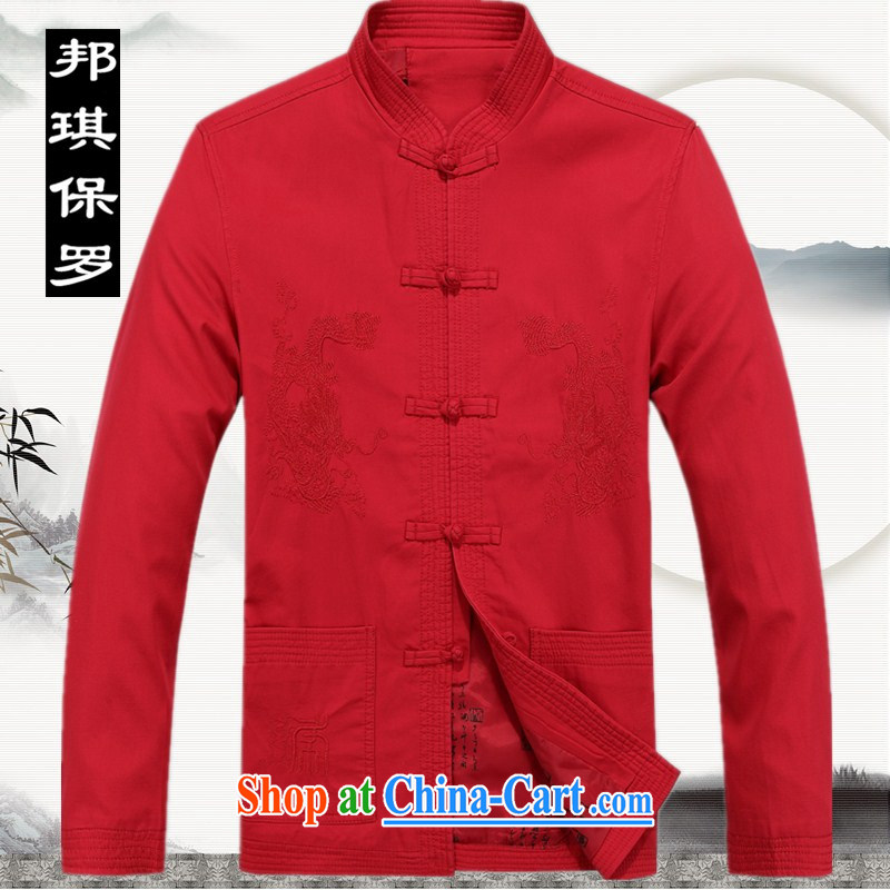 Bong-ki Paul China wind 2014 in Spring and Autumn older cotton jacket father with embroidery men's jackets sand washed cotton Tang red T-shirt thick, Grandpa red XXXL