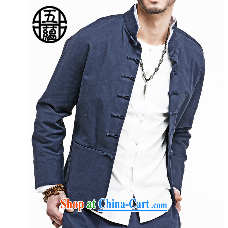 The TSU defense _Azouari_ China wind Men Shen Tang with long-sleeved thick double-neck jacket blue XXL