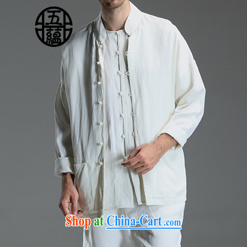 The TSU defense (Azouari) China wind men cultivating Chinese long-sleeved beans snap linen/cotton jacket white XXL