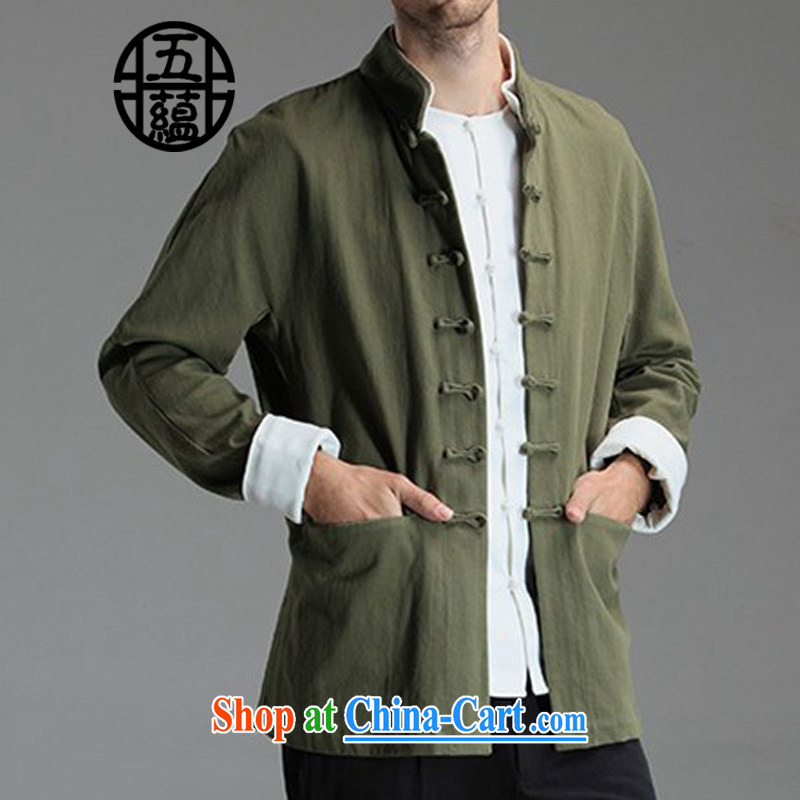 The TSU defense (Azouari) China wind men's beauty Tang with long-sleeved leisure solid color jacket green XXL