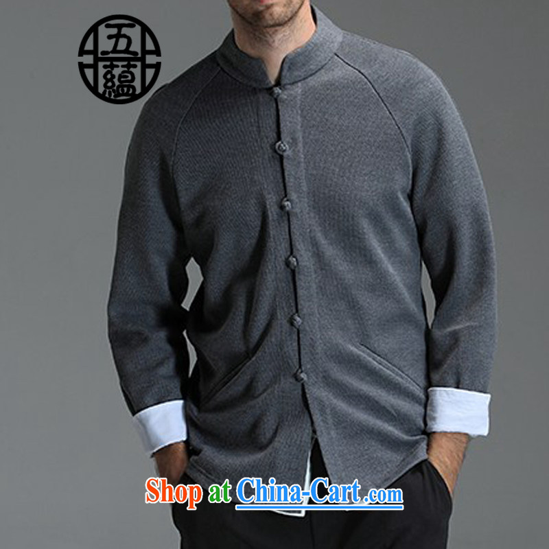 The TSU defense (Azouari) China wind men cultivating Chinese long-sleeved knit sweater jacket gray XXL