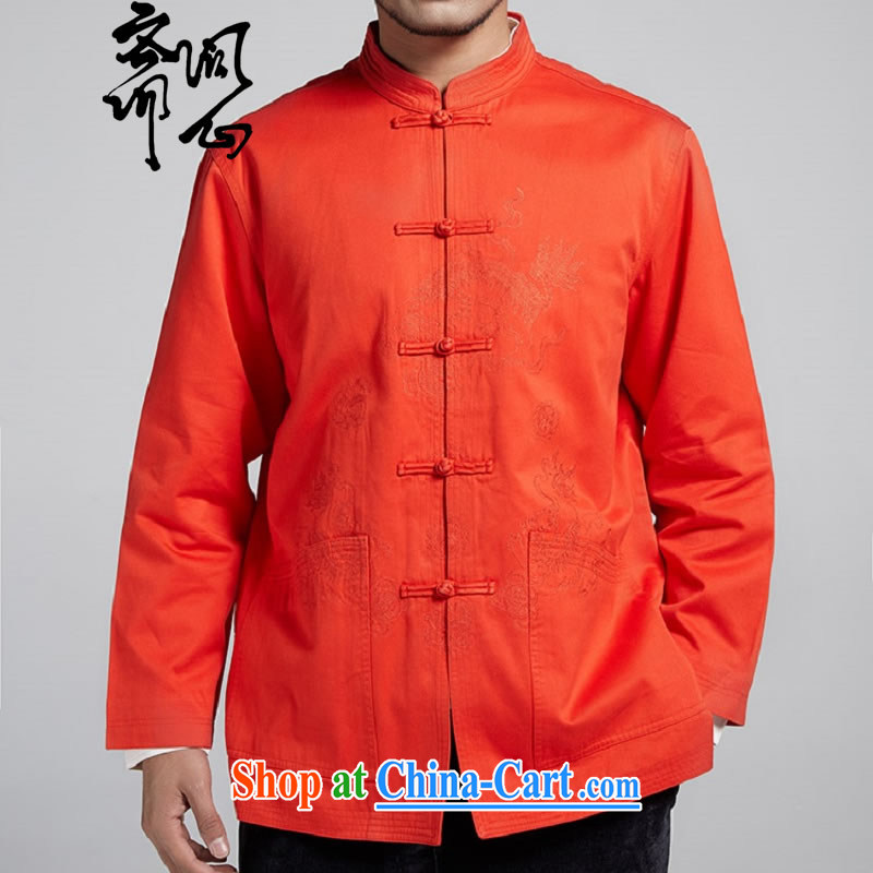 q heart Id al-Fitr (the Health new male men Chinese improved embroidery jacket  Tang with improved jacket 1799 red-orange XL