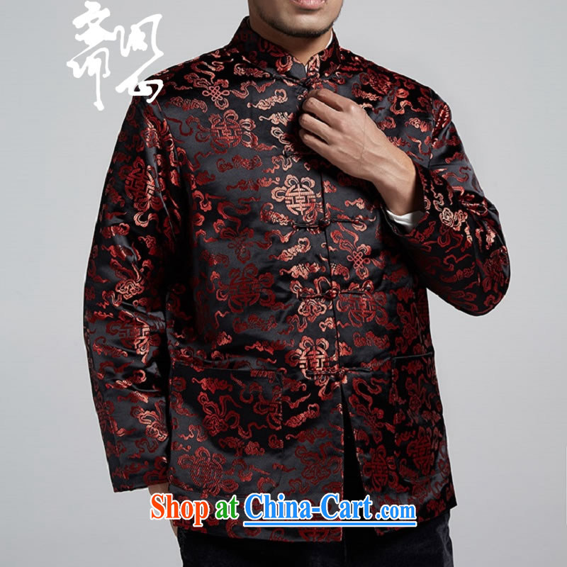 q heart Id al-Fitr (the Health New Men silk smock shirt Chinese improved jacket 1800 Black + red XXXXL