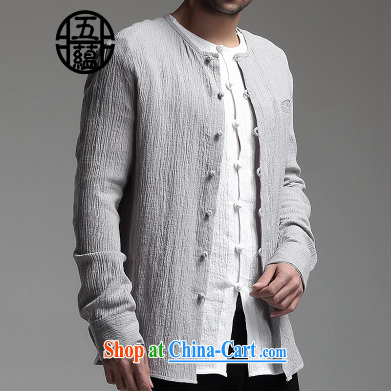 The TSU defense (Azouari) China wind men's long-sleeved linen/cotton shirt beauty lounge round-collar wrinkle the Light Gray XXXXL is a custom is not and does not switch