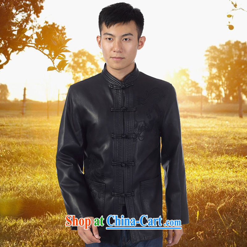Kim Ho-The 2015 spring and autumn and winter, the older men, the charge-back leather jacket Tang with his father on the collar leather Chinese fur smock jacket coat black 190