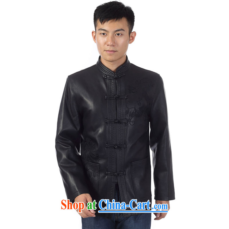 Kim Jong-il-ho in the 2015 spring and autumn and winter, the older men, the charge-back leather jacket Tang with his father on the collar leather Tang with sheep leather smock jacket coat black 190, Kim Ho-AD, and shopping on the Internet