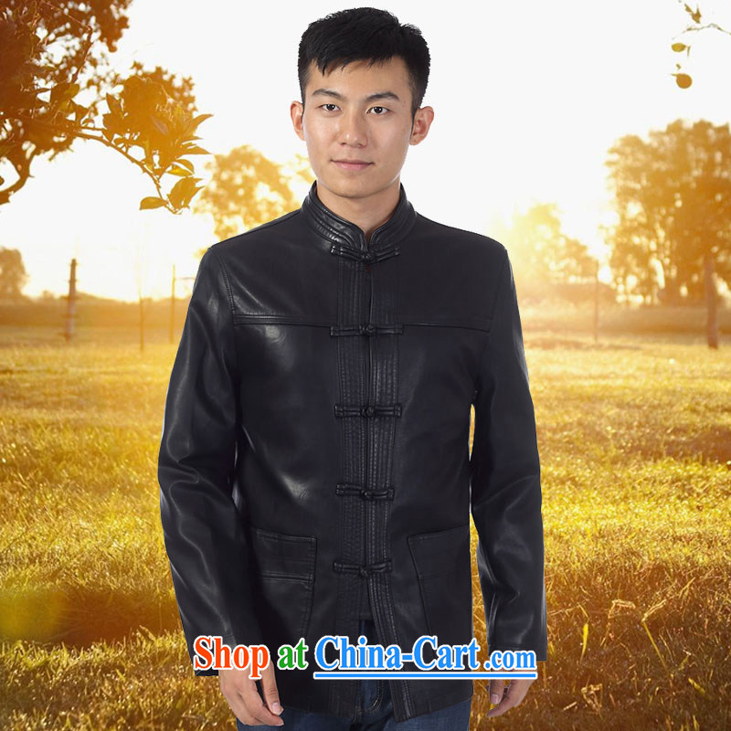 Kim Jong-il-ho in the 2015 Spring and Autumn new, older men leather jacket Tang with his father on the collar beauty leather jacket fur smock XL jacket black 190