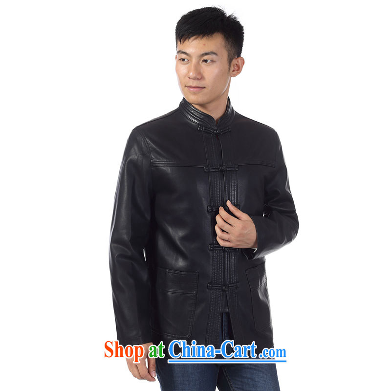 Kim Jong-il-ho in the 2015 Spring and Autumn new middle-aged and older men's leather jacket Tang with his father on the collar beauty leather jacket fur smock XL jacket black 190, Kim, Ho ad, shopping on the Internet