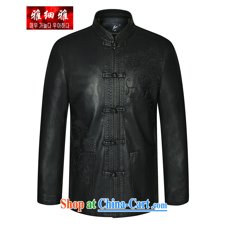 Jacob Jacob breakdown 2015 spring new leisure father in older Chinese men's jackets, for thin, snap-click the clip spring leather jacket black 190