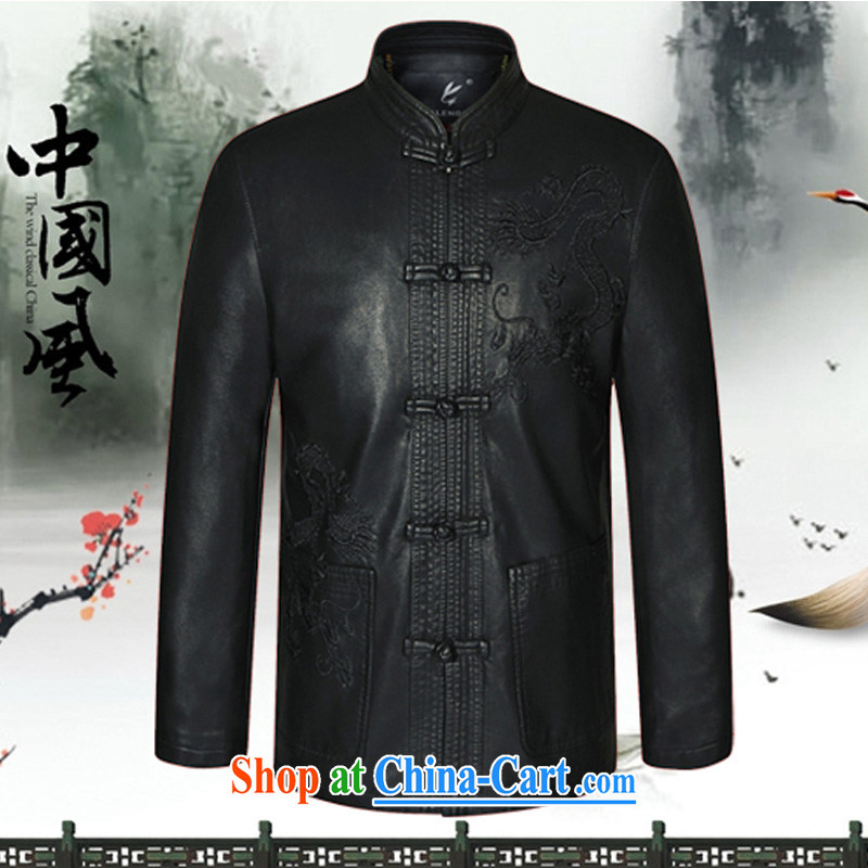Kim Ho-The 2015 spring new middle-aged and older men and the new leather beauty from ironing clothes atmospheric father loaded up for leisure embroidery XL Tang jackets black 190