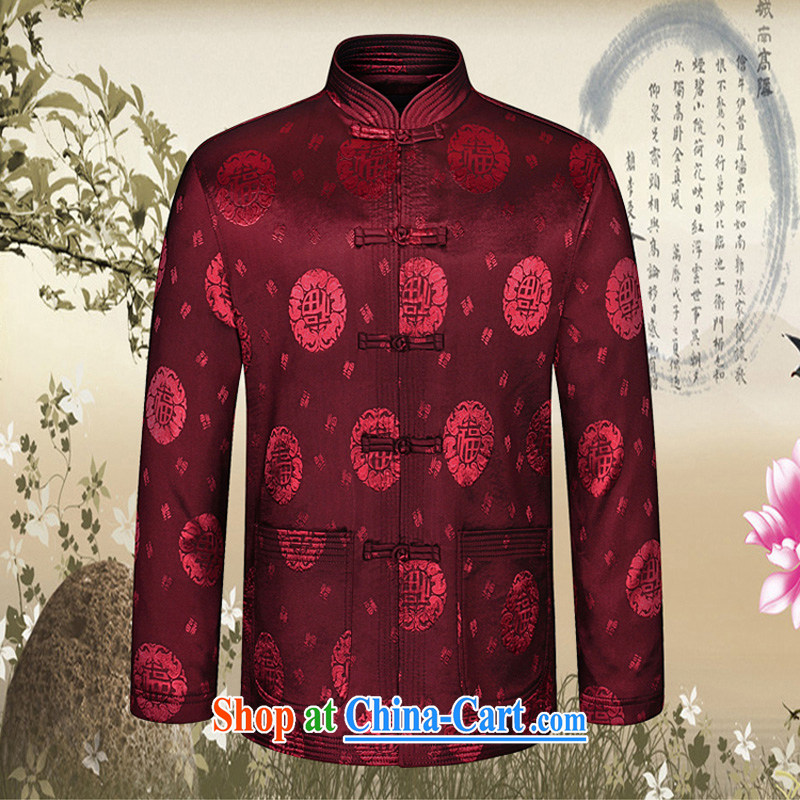 Kim Jong-il-ho in the 2015 Spring and Autumn and the New China wind, older men's stylish tang on the stamp duty for Tang jackets atmosphere decorated with his father in the Code T-shirt wine red 180