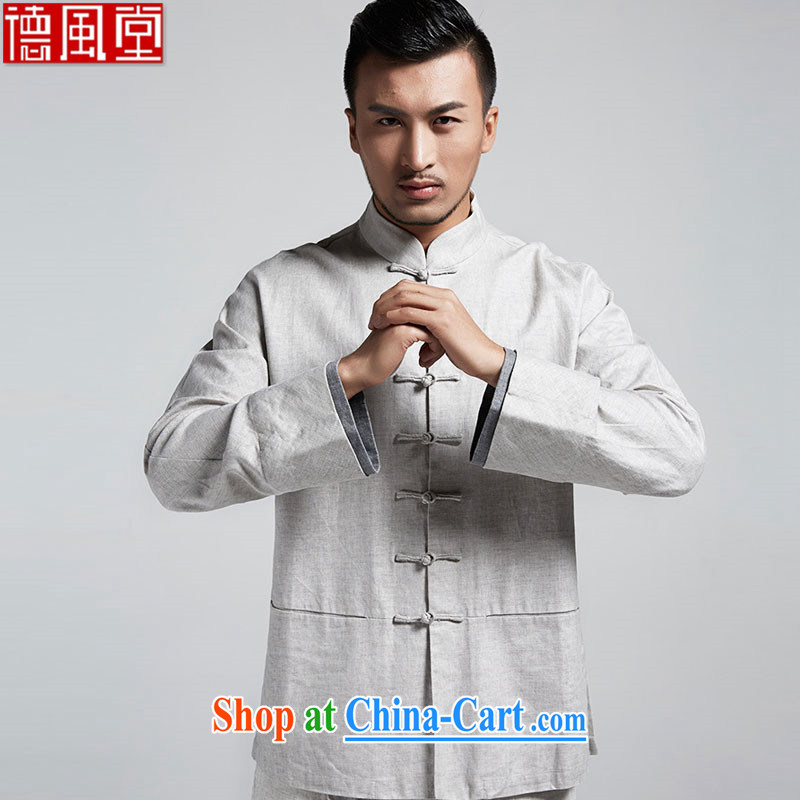 De-Tong Chun looks stylish Chinese shirt 100 ground stack solid sleeves T-shirt Chinese style kungfu shirt casual wear 2015 spring long-sleeved gray XXXL