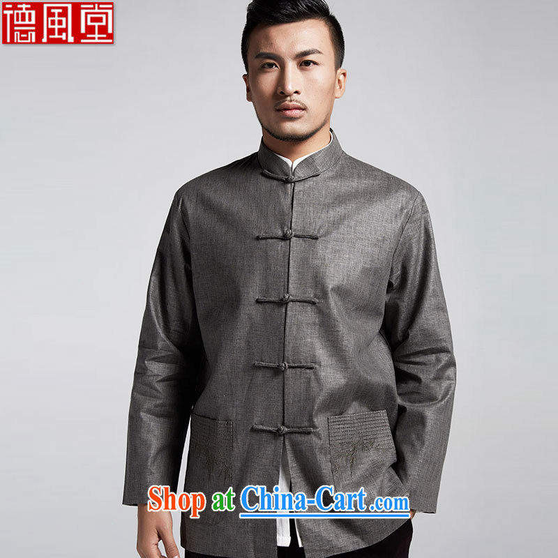De wind church Integrity Commission Cotton Men's Chinese Spring and Autumn 2015 Chinese long-sleeved light jacket Dad installed China wind male dark gray 4 XL