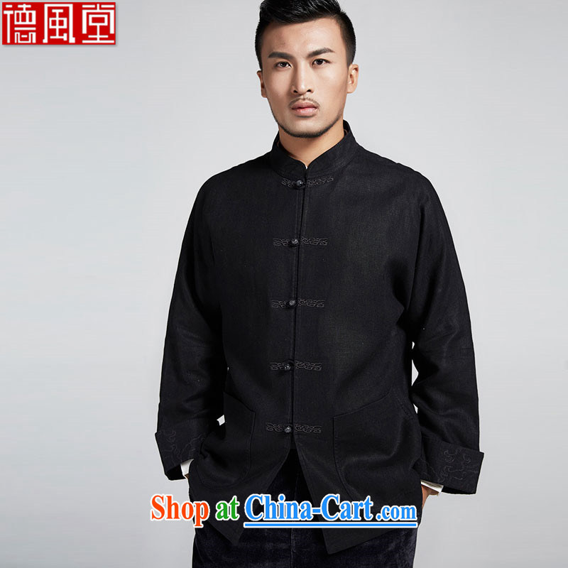 Wind, The Church cannot be refined and improved, older men's jackets personalized Embroidery is withholding leisure long-sleeved T-shirt China wind male black 52_3 XL