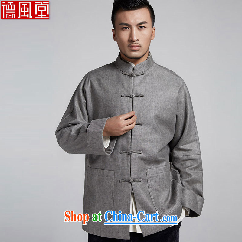 De-tong the 2015 autumn and winter, and shoulder-long-sleeved T-shirt Chinese improved flip cuff leisure jacket�China wind and light gray 52/XXXL