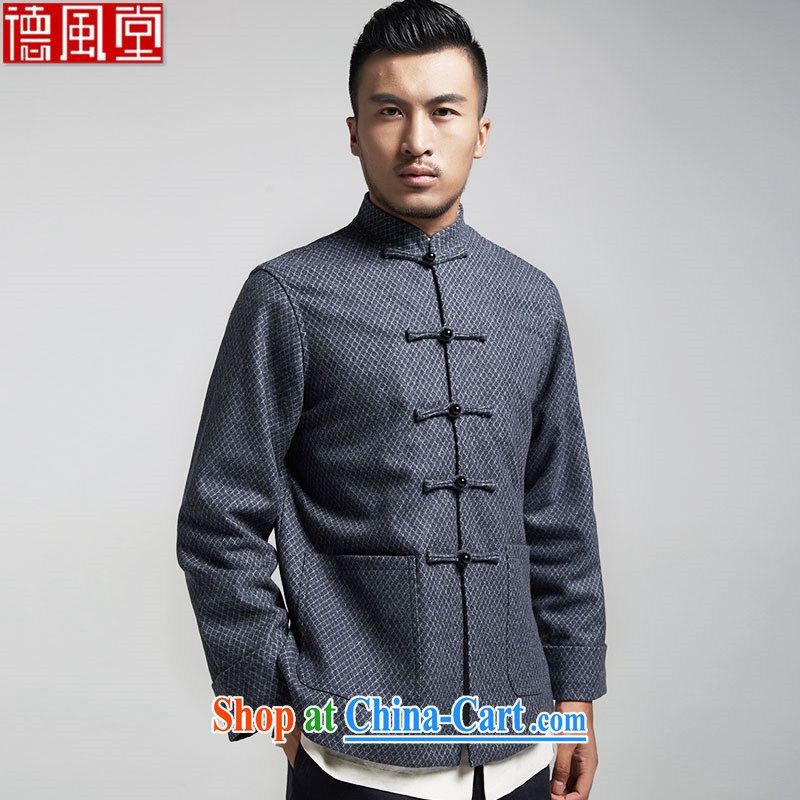 De-tong and autumn 2015 the male Chinese China wind men's jackets older leisure long-sleeved Tang with warm gray 4 XL