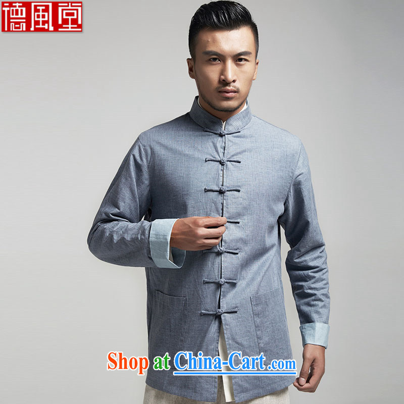 De-tong-won China wind 2015 long-sleeved jacket young men Tang with a shoulder sleeveless and the mandatory blue-gray XXXL