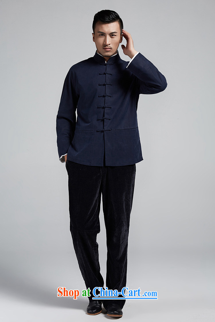 De-tang, Jun Chinese style men's Chinese 2015 autumn and winter cuff double-decker long-sleeved jacket handsome casual jacket China wind men's dark blue 48/XL pictures, price, brand platters! Elections are good character, the national distribution, so why buy now enjoy more preferential! Health