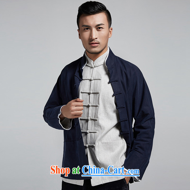 De-tong, Jun Chinese style men's Chinese 2015 autumn and winter cuff double-decker long-sleeved jacket handsome casual jacket China wind and dark blue 48/XL, de-tong, shopping on the Internet