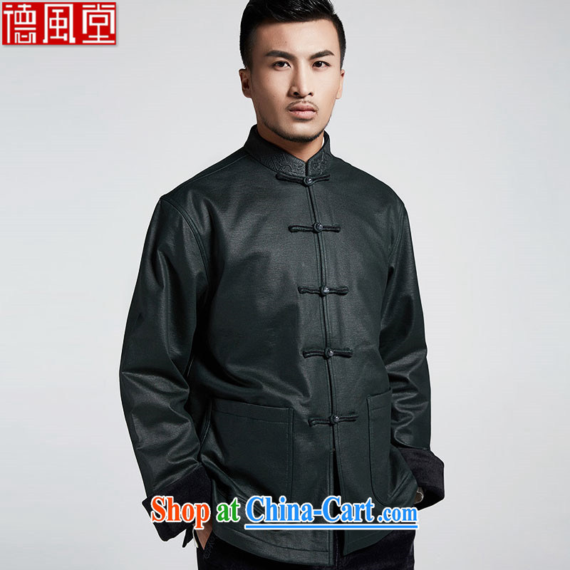 De-tong-gon Hill high knitted stylish ripstop taffeta overlay improved lint-free cloth and cuff-tang jackets Mr. Joinet, original Chinese wind male 2015 autumn and winter, green XXXL