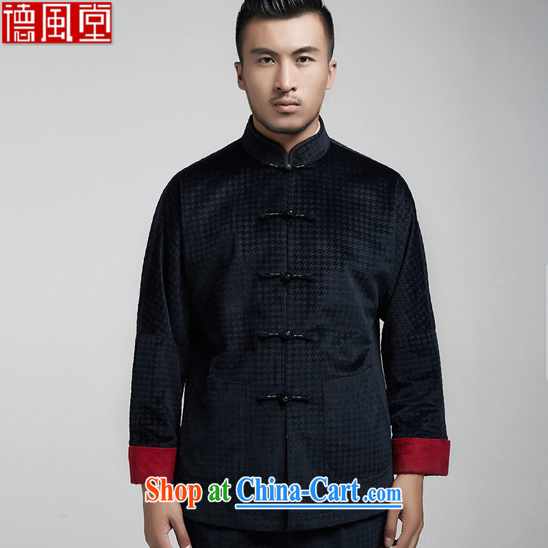 De-tong since the pure Chinese double-shoulder Chinese clothing men and middle-aged long-sleeved Chinese fall 2015 jackets and elegant Chinese style men's dark blue 50