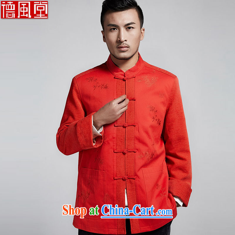 De-Tong Lung Tibetan Chinese men and Chinese flip cuff 2015 winter jackets and stylish personalized embroidery leisure long-sleeved T-shirt Chinese wind male orange red 52