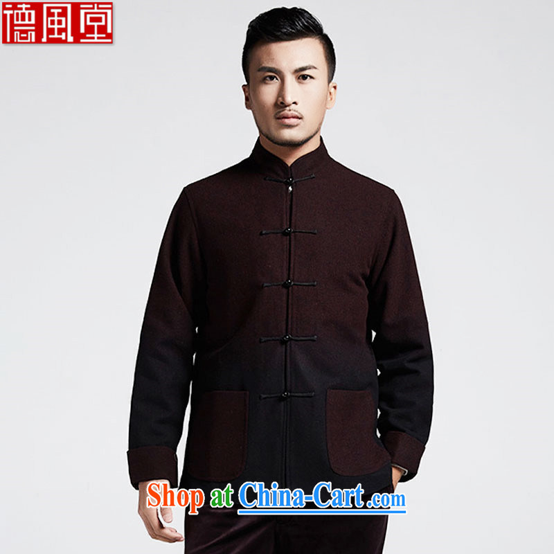 De-tong, a wool gradient Young Men's Chinese 2015 autumn and winter coats the cuff thick Chinese wind male and black and red 4 XL