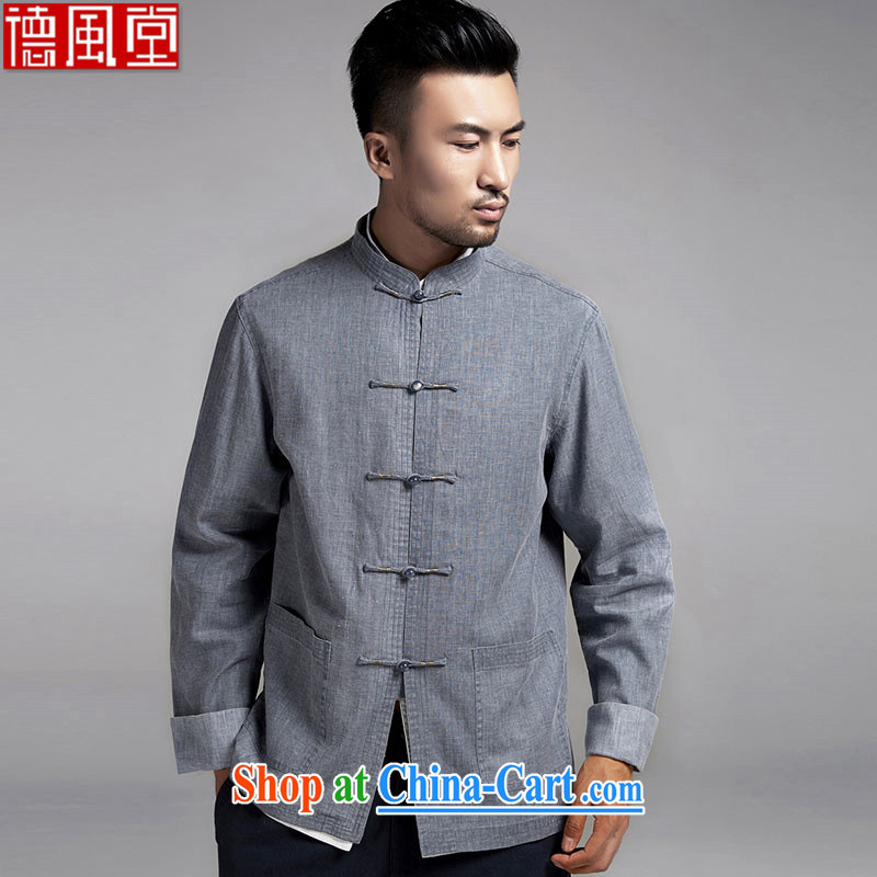 De-TONG HIN Leong Che-hung, older men Tang jackets thin Chinese-buckle up for men's T-shirt Chinese wind 2015 spring, long-sleeved gray L