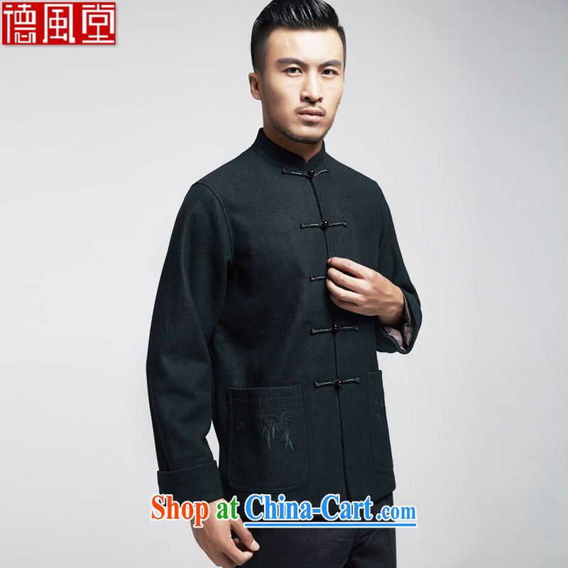 De-tong is also what gross 2015 autumn and winter, men's Tang jackets, elderly father with Chinese men's autumn and winter wind China dark green 4 XL