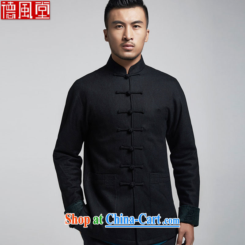 De wind turbine hall for grand beauty hair fall what the male Tang jackets China wind even long-sleeved T-shirt shoulder cuff over the fall and winter, black 4XL