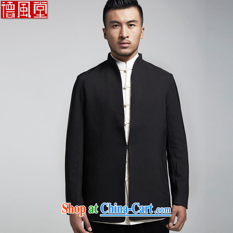 De-tong Han Yong men's Chinese Dress Chinese wind cultivating long-sleeved jacket Dinner hosted wedding T-shirt black XXXL