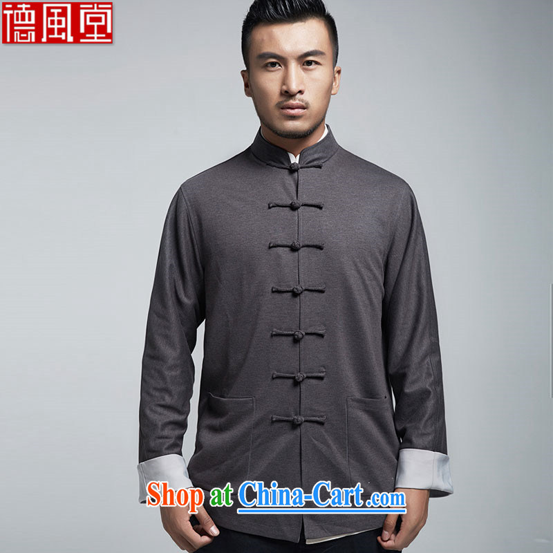 De-tong Exclusive stylish Sau San Tong replacing the 2015 spring jackets China wind long-sleeved T-shirt gray 4 XL