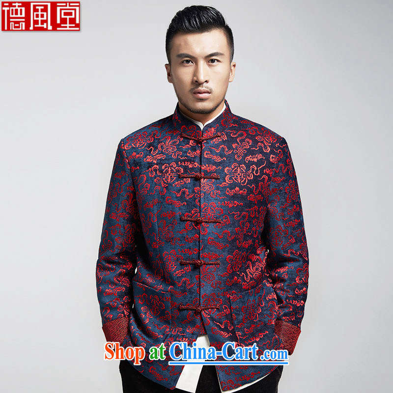 De-tong fragrance stylish Chinese men are jackets Ethnic Wind gross Smock is the men's fall and winter, dark red 4 XL