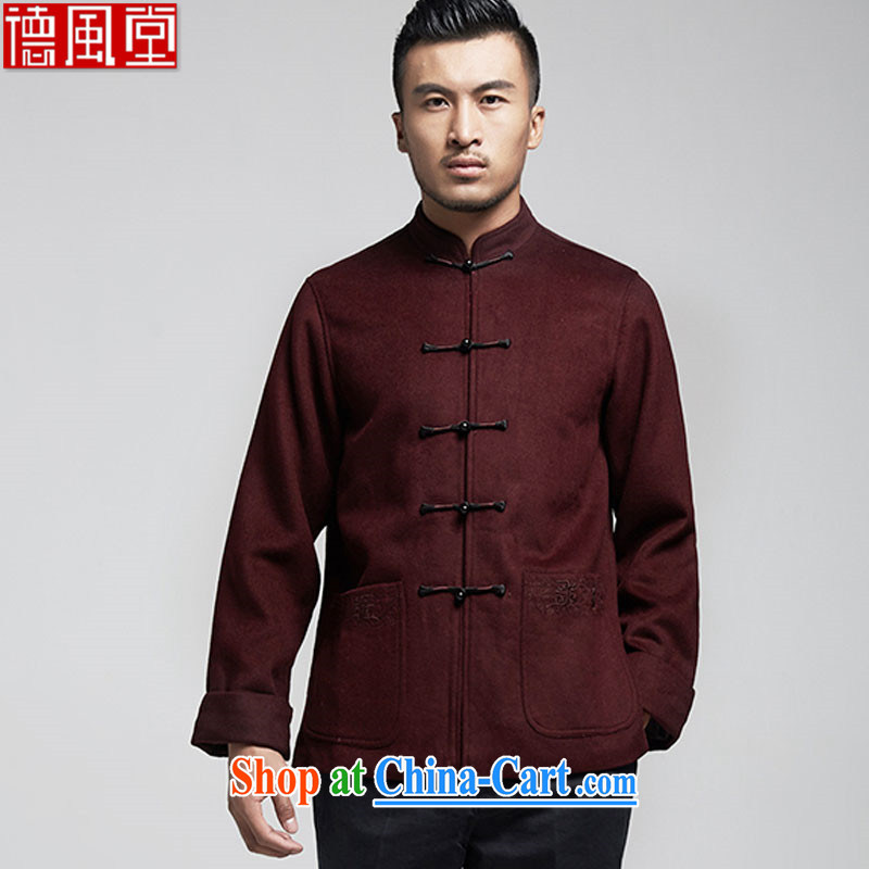 De-Tong Ching Ya, older Chinese men's long-sleeved 2015 autumn and winter jackets Chinese father with three-dimensional trim warm Chinese Wind and wine red 4 XL