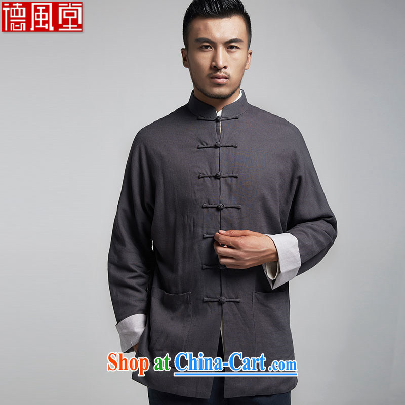 De-tong Park linen traditional style double-shoulder cuff men Tang jackets Chinese leisure T-shirt Chinese Wind and spring and autumn 2015 dark gray XXXL