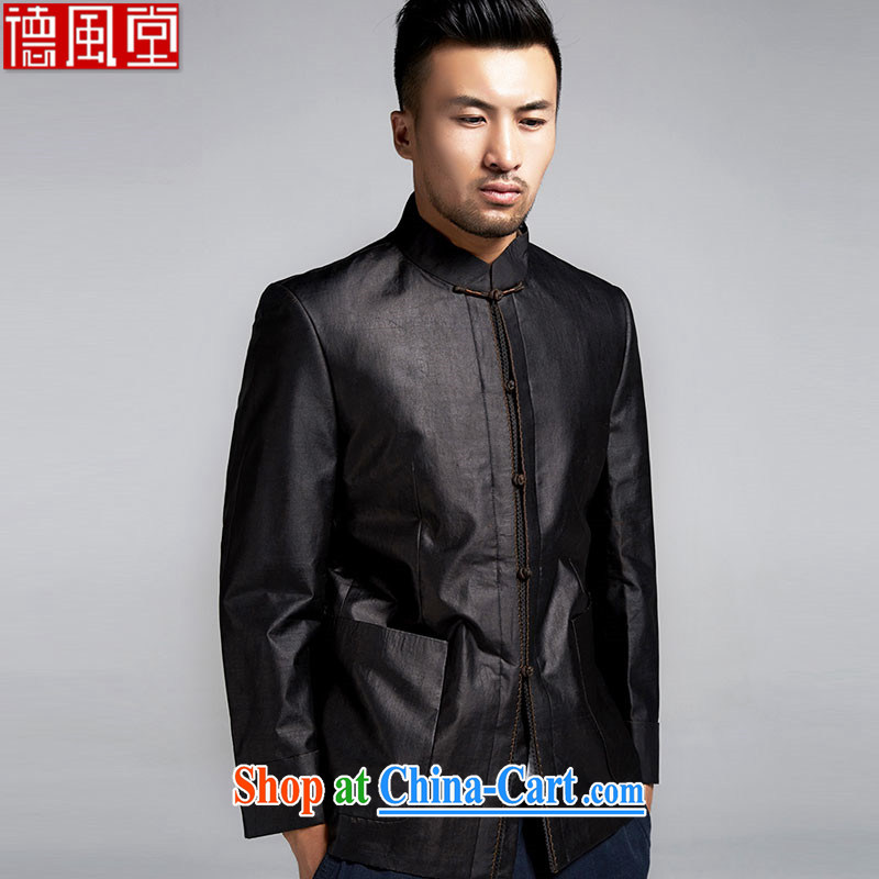 De wind church blessed Chinese men and cultivating Chinese jacket Hong Kong cloud yarn anti-wrinkle improvement China wind men's 2015 spring black XXXL