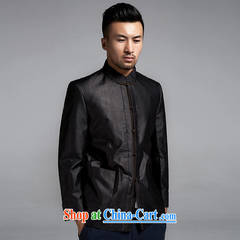 De wind church blessed Chinese men and cultivating Chinese jacket incense cloud yarn anti-wrinkle improvement China wind men's 2015 Spring and Autumn and black XXXL, de-tong, on-line shopping