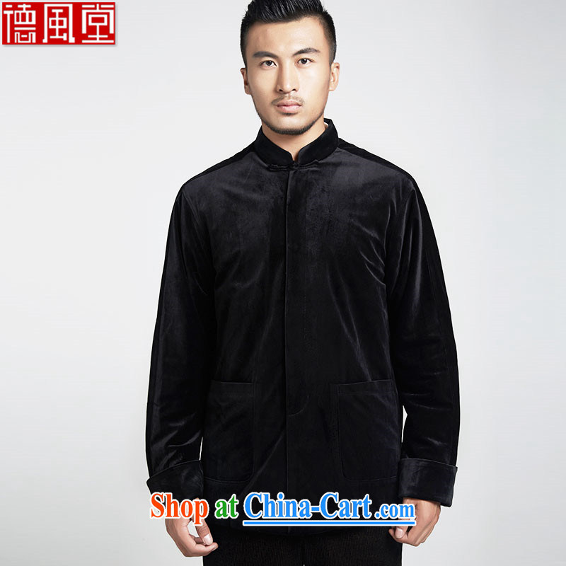 De-tong Tsz winter Chinese male Chinese wind 2015 spring long-sleeved jacket men's T-shirt black, the black XXXL