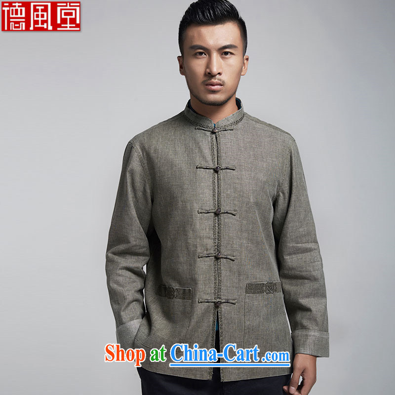 De-tong, and Jacob linen men's Chinese long-sleeved 2015 spring T-shirt Chinese wind older jacket Chinese Embroidery gray XXXL