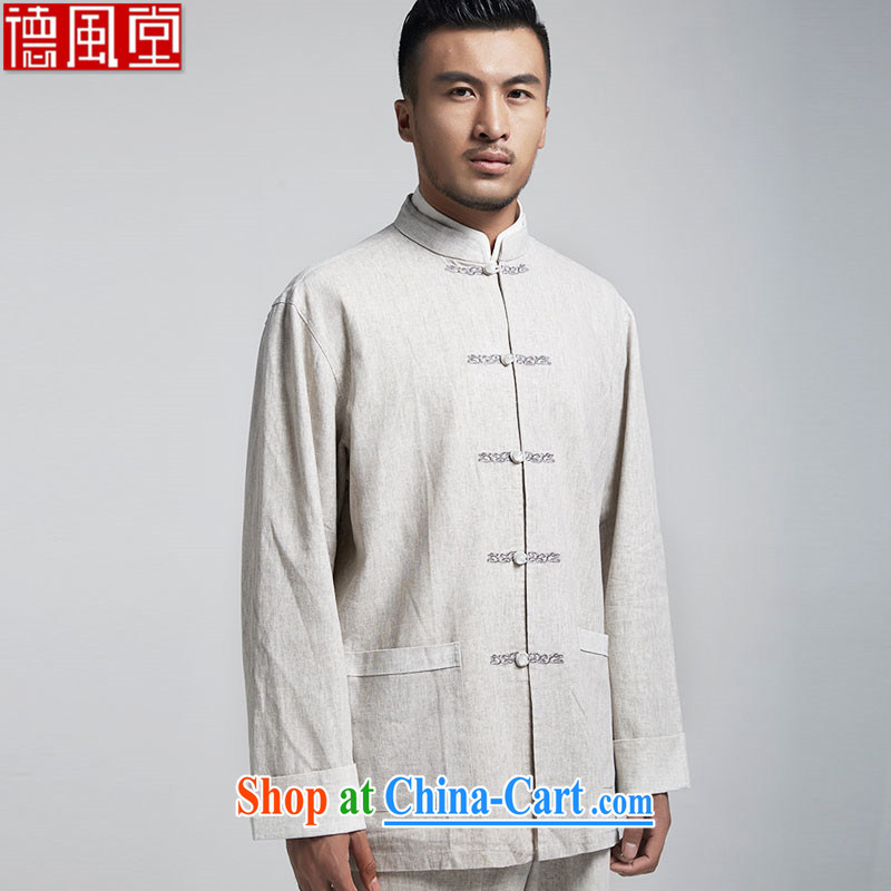De-tong brandishing plain linen Chinese men's long-sleeved T-shirt Chinese leisure jacket embroidery original Chinese Wind and spring and autumn 2015 gray XXXL